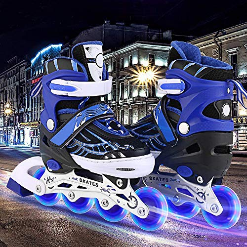 Aceshin Adjustable Inline Skates for Kids, Safe and Durable, Illuminating Rollerblades for Boys and Girls (Black & Blue, US-M-2-5) -