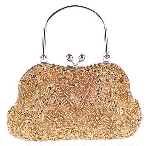 Vintage Jewels Gold Lock handle Purse Floral Top Metal Beaded Party Prom Kissing Evening Bag Clutch wwHrRq