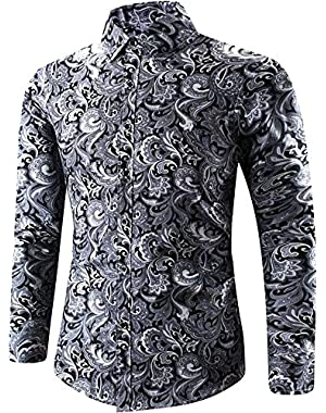 Men's Long Sleeves Stylish Floral Print Casual Dress Shirt