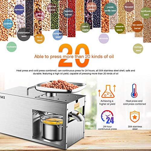 Rbaysale 1160W Commercial Oil Press Machine Hot Cold Automatic Physical Pressing Oil Expeller Electric Extractor for Home Avocado Coconut Olive Flax Peanut Castor Hemp Seed Canola Sesame Sunflower by Rbaysale (Image #2)