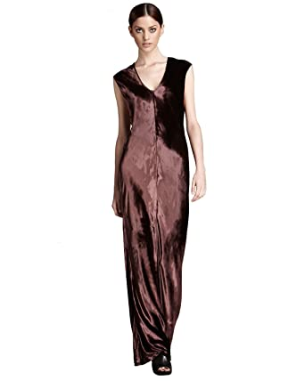 4e8ca52ab6d3 T by Alexander Wang Panne Velvet Maxi Dress, Aubergine, Medium at Amazon  Women's Clothing store: