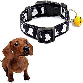 Barlingrock Colliers de Chiot pour Petit Chien, Colliers de Chiot Cool pour Chien de Compagnie en Nylon Imitation Halloween avec Le Festival Bell Dog, Colliers (Noir) Barlingrcok