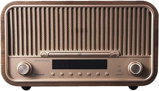 Retro Radio, Wooden HiFi FM Radio, Desktop Wireless Combo Speaker Bluetooth CD Player, Sleep Alarm Setting 4.0 High-Speed Bluetooth, Support U Disk AUX USB