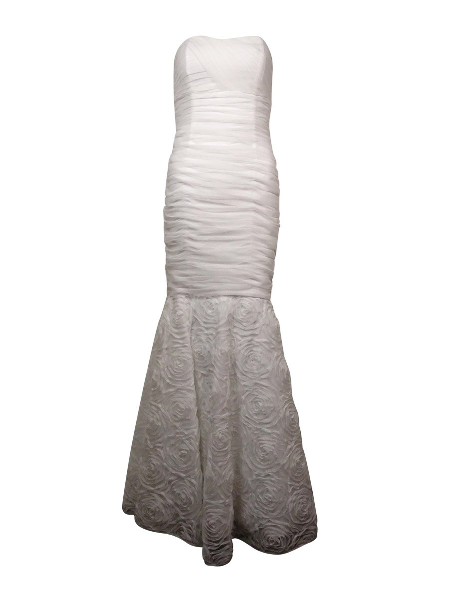 Betsy & Adam Womens Tulle Rosette Evening Dress White 6