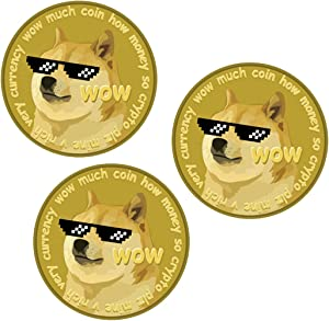 Dogecoin Sticker Decal PACK OF 3 - Doge Coin, Cryptocurrency, Doge Sticker, Crypto, and Bitcoin – Quality Waterproof Stickers and Perfect for Laptop, HydroFlask, Yeti, Car, Phone, Aesthetic Doge Coin Vinyl Stickers Pack (3 Pack)