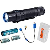 Bundle: Olight M2T Warrior 1200 Lumen Dual Switch Tactical LED Flashlight - With 2x CR123A Batteries, 1x 2600mAh 18650 Battery, Magnetic USB Charger & LumenTactical Battery Organizer