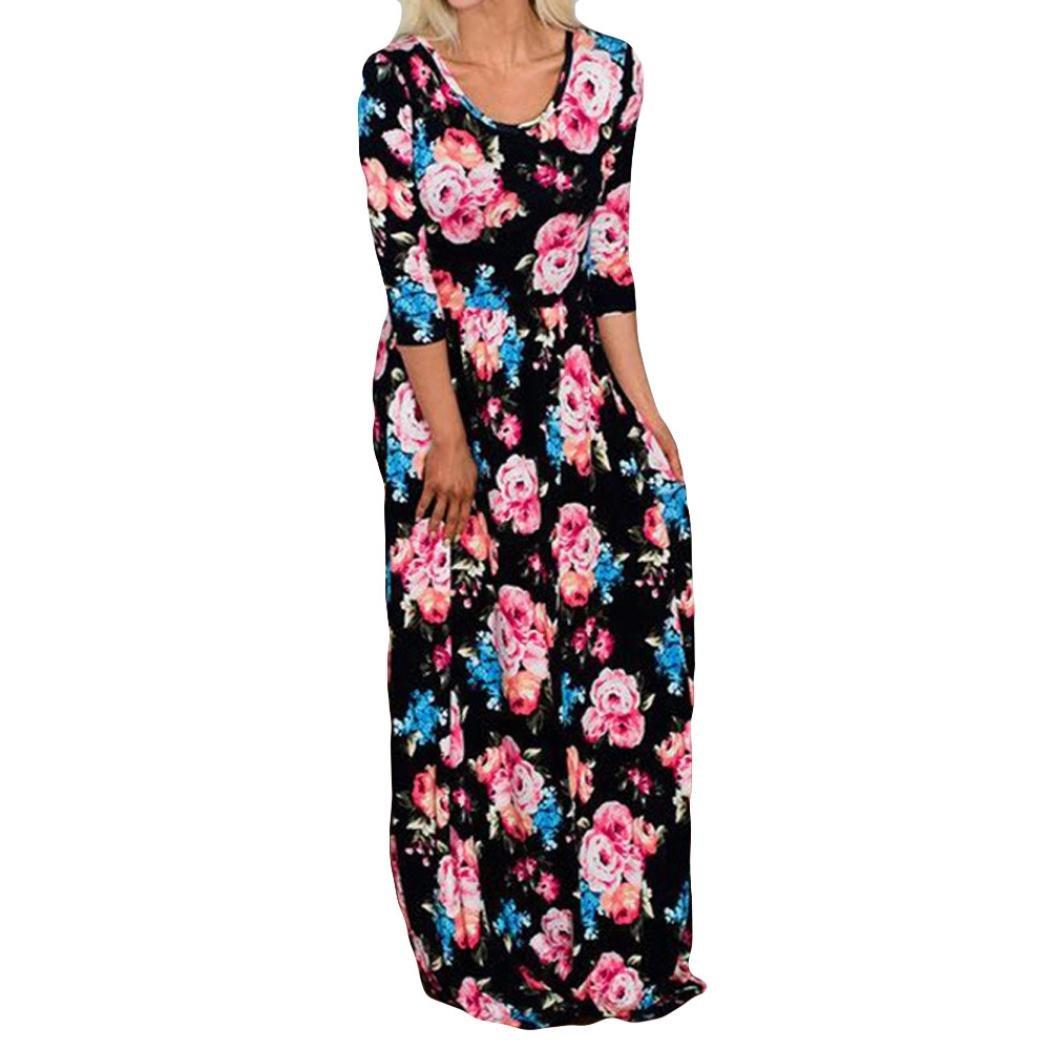 3c63e6cb54c05e Mama und ich Kleider Casual O-Ausschnitt Floral Familie Outfits Sommer  passenden Maxi Dreiviertel-Kleid S/M/L/XL/2XL: Amazon.de: Bekleidung