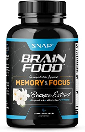 Nootropics Brain Booster Supplement for Memory and Focus - Improve Brain Focus, Clarity & Memory Supplements for Seniors & Adults + Energy & Mood Booster - Bacopa Extract, Ginkgo Biloba (60 Capsules)