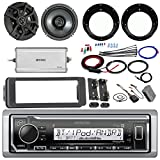 Kenwood KMR-M315BT Stereo Receiver Bundle W/ 2 Kicker 6.5'' Speaker W/ Motorcycle Speaker Adapters + Class D Amplifier W/ Amp Kit + Dash Trim Kit W/ Handle Bar Conroller + Enrock Antenna
