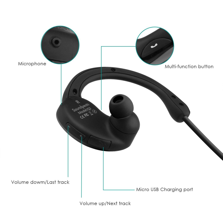 SoundPEATS Q2 Auriculares inalámbrico Estéreo Bluetooth 4.1 In-Ear Deportivos para Correr y gimnásio, Auricular con micrófono para iPhone, iPad, iPod, Sony, ...