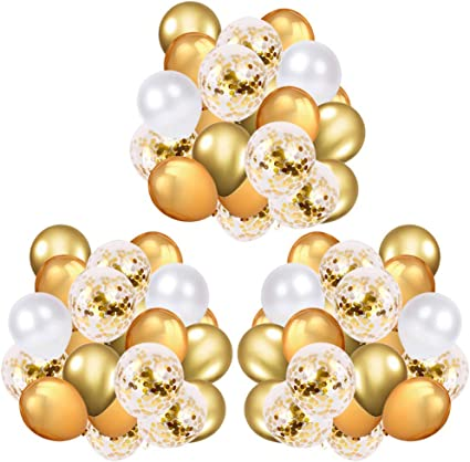 Gold Confetti Balloons Set Happy Birthday Pearl Latex Ballon Party Decorations