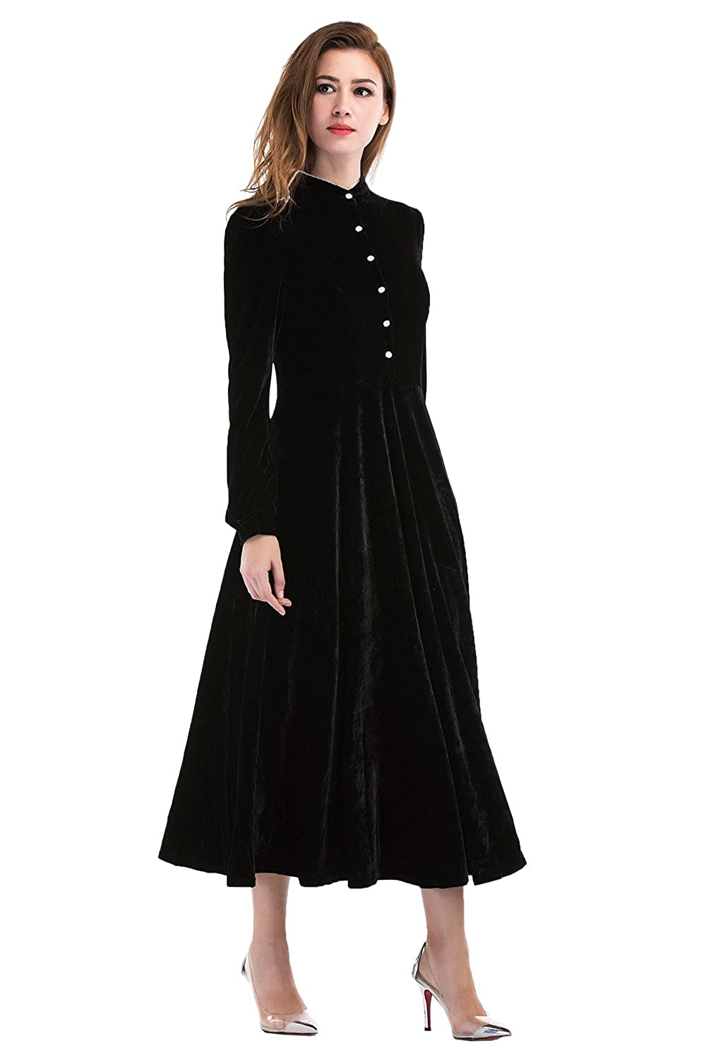 309b2ae9a8b4e2 DRESS STYLE: Fit & Flare, Button Front Dress, Hemline Midi, Neckline Round  Neck, Sleeve Type Long Sleeve, Pattern Solid, Color Black, Women\'s Size ...