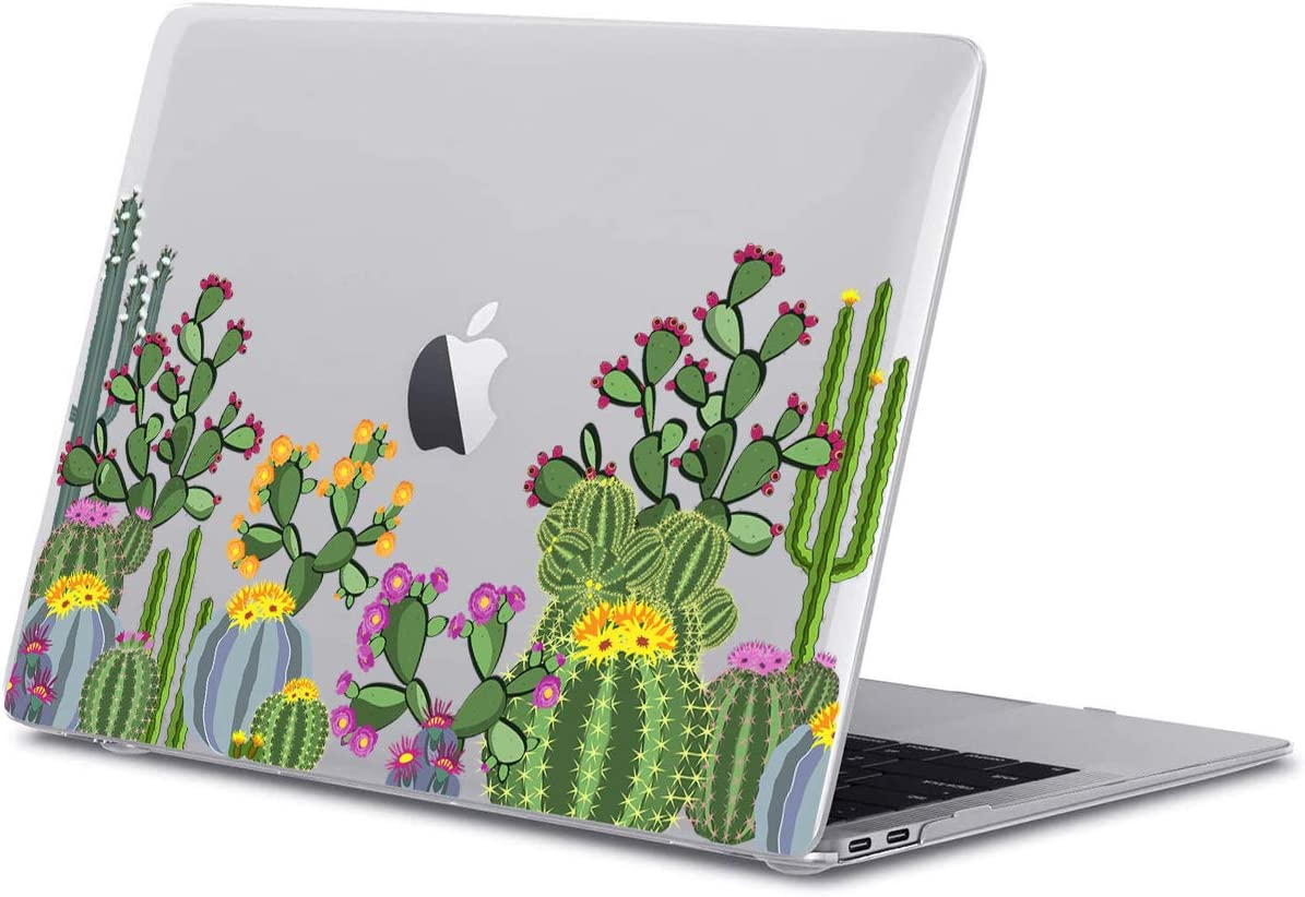 GoldSwift Matte Rubberized Hard Shell Laptop Clear Case Cover for MacBook Air 13 Inch Model Number A1932/A2179 (Cactus)