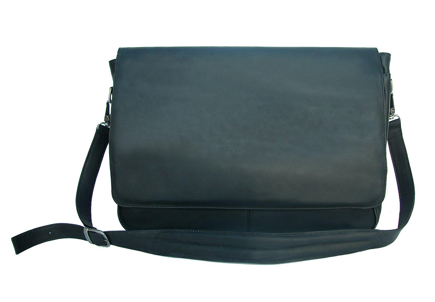 Piel Leather Professional Laptop Messenger, Black, One Size