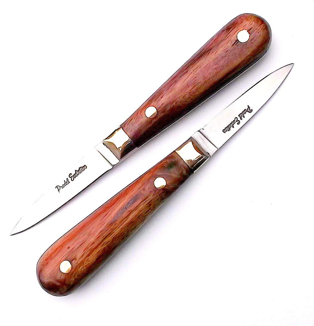 2 x Traditional French Oyster Shuckers.Rosewood Handled + Steel Knife Sharpener Laguiole Bougna UK