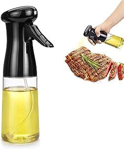 2021 Upgraded Oil Sprayer for Cooking, Olive Oil Sprayer, Food Grade Oil Sprayer, 210ml Oil Spray Bottle for Cooking Air Fryer Grilling BBQ Roasting Baking Salad,Black (1)