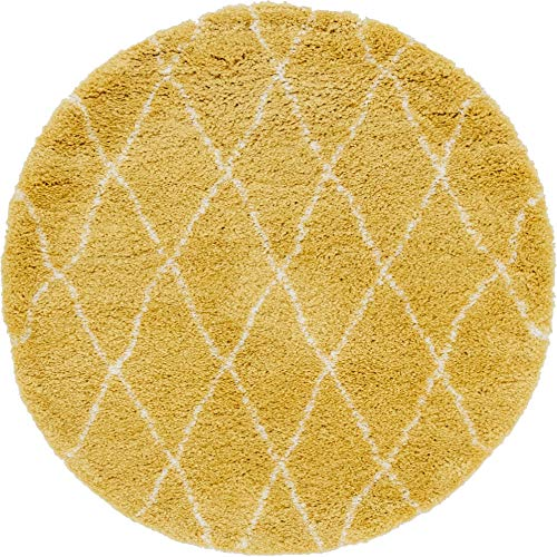 Unique Loom Rabat Shag Collection Geometric Trellis Beni Ourain Plush Yellow Round Rug (5' 0 x 5' 0)