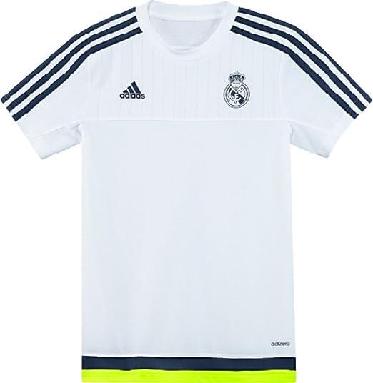 adidas Real Madrid de fútbol formación Juventud Jersey-White: Amazon.es: Deportes y aire libre