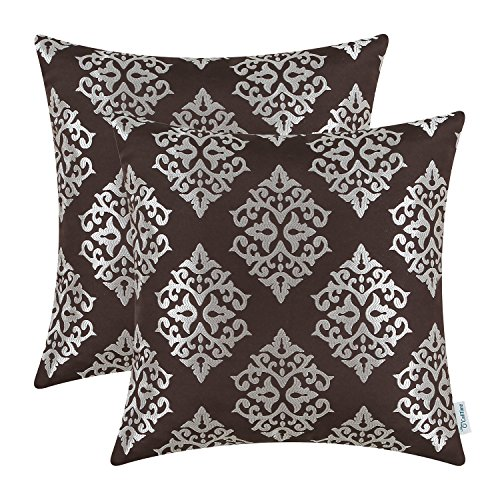 - CaliTime Pack of 2 Soft Jacquard Throw Pillow Covers Cases Couch Sofa Home Decoration Vintage Damask Floral 18 X 18 inches Coffee