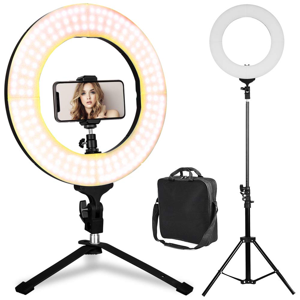 LED Ring Light - 14inch 3200K/5500K Bicolor Dimmable Lighting Kit with 70 inch Light Stand & Table Top Stand, Superbright & Durable, Adjustable Angle and Easy Assembly for Studio Video Selfie YouTube