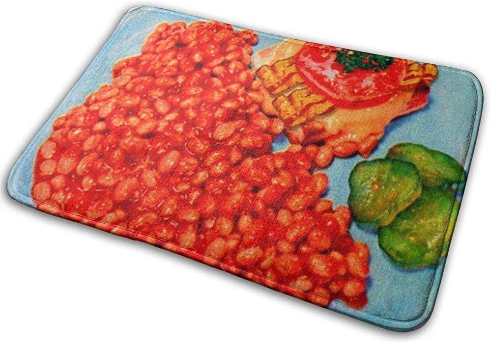 DaiMex Paquete de 2 Alfombrillas de baño, alfombras Extra Suaves y absorbentes, Alfombrillas Bacon bueger y Frijoles Vintage Kitsch ad Art Bath Mat