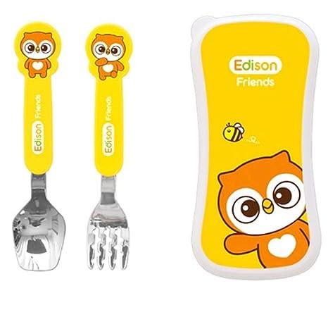 Edison Friends Caso Tenedor cuchara Set Cubiertos Cubiertos 1 Pack de 2 piezas pueden lavar en