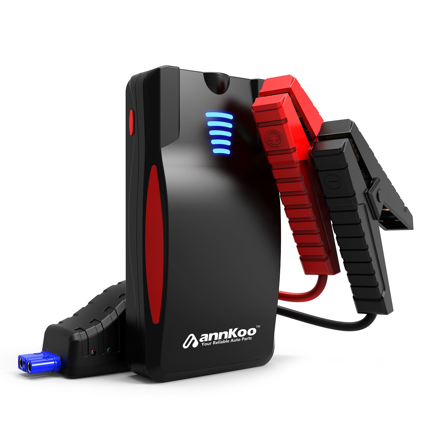 Car Jump Starter -ANNKOO AN02 Portable 600A Peak Current 14000mAh(Up to 6.0L Gas or 4.5L Diesel Engine) Phone Power Bank Auto Battery Charger Quick Charge Output, with LED Light, Black/Red