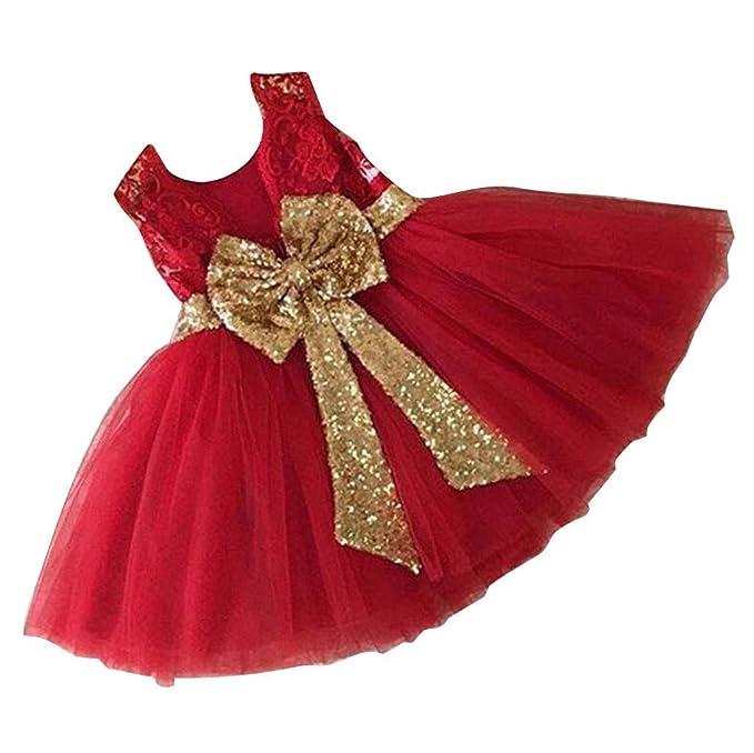 Yefree Girls Bowknot Lace Princess Skirt Summer Lentejuelas Vestidos para bebés niños pequeños 0-5
