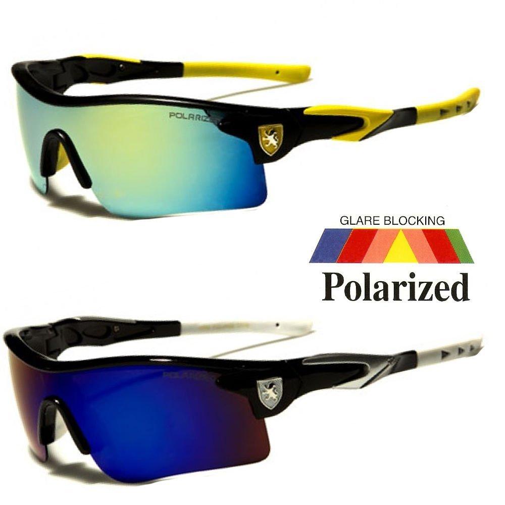 White Blue Polarized Mirror Lens Mens Fishing Cycling Baseball Sport Wrap Sunglasses
