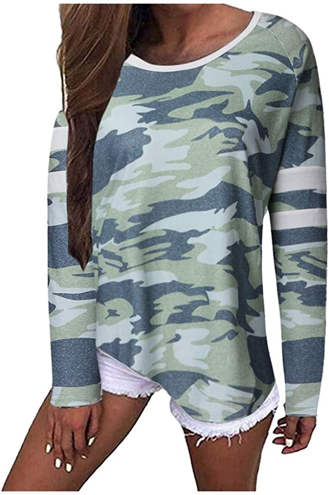 TOPKEAL Suelta Camiseta de Manga Larga Holgadas Blusa con Estampado de Camuflaje para Mujer Verde S: Amazon.es: Ropa y accesorios