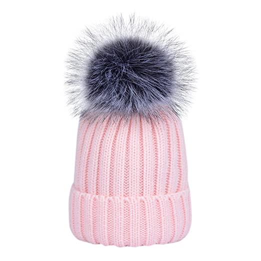8e696c4f2467b Image Unavailable. Image not available for. Color: Dikoaina Womens Girls  Winter Fur Hat Large Faux Fur Pom Pom Beanie Hats