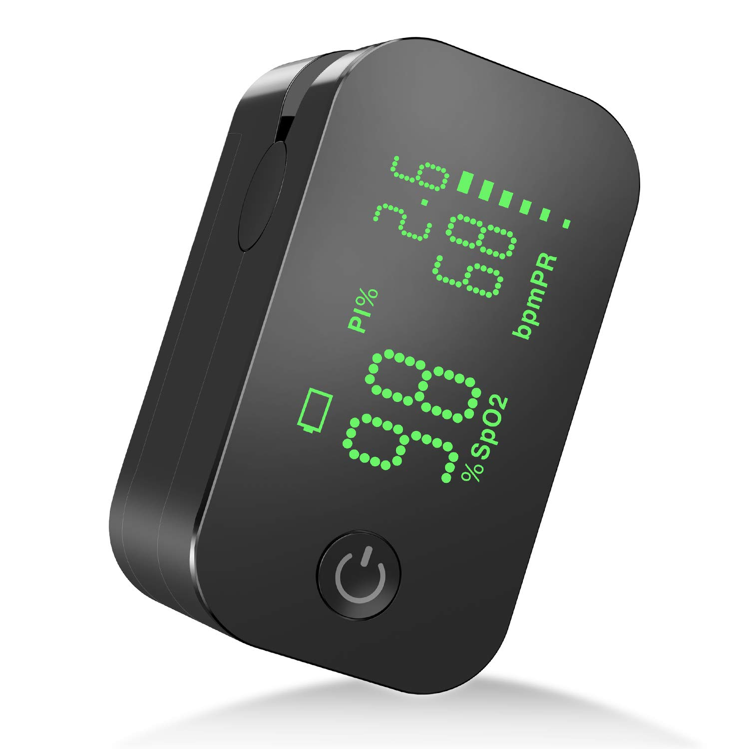 JUMPER Fingertip Pulse Oximeter with Perfusion Index, Pulse Rate,Blood Oxygen Saturation Monitor 500G-NM Black