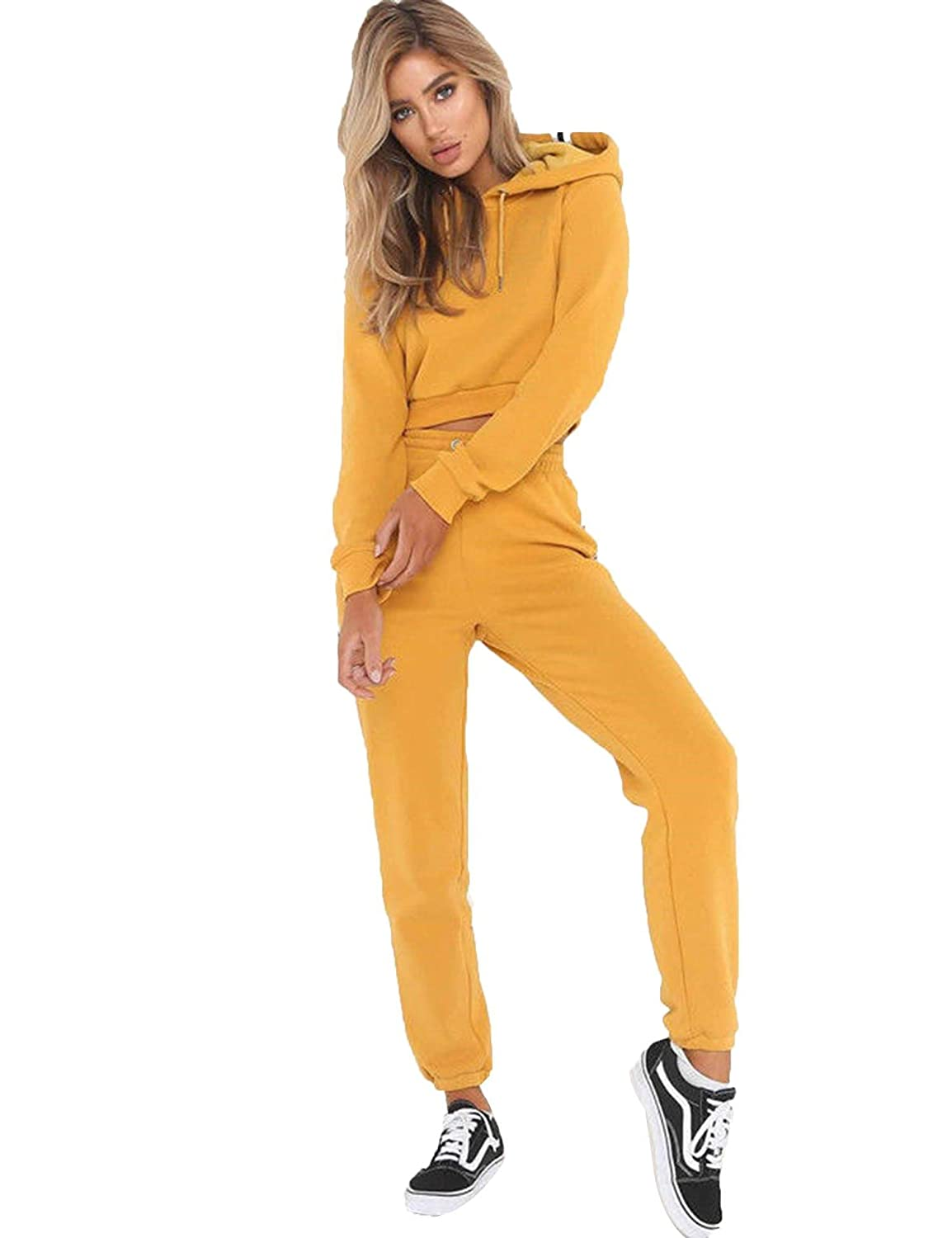 Ceanfly Women Tracksuit Hoodies Drawstring Elastic Waist Patchwork Crop Tops Outfits Lace up Crop Hoody Pants Sweatsuits Set
