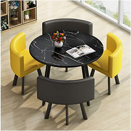 Modern Design Dining Table And Chair Combination Nordic Minimalist Style Marble Texture Desktop Home Living Room Study Apartment Balcony Negotiation 80 Cm Small Round Table Suitable For 4 People Amazon De Kuche