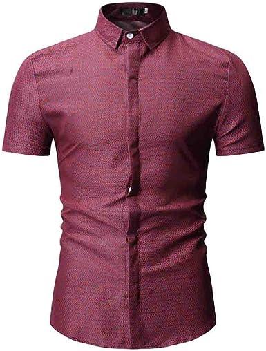 SoonerQuicker Camisa de Hombre Camiseta de Verano con Cuello caído Camiseta Ajustada de Manga Corta Top BlusaT Shirt tee: Amazon.es: Ropa y accesorios