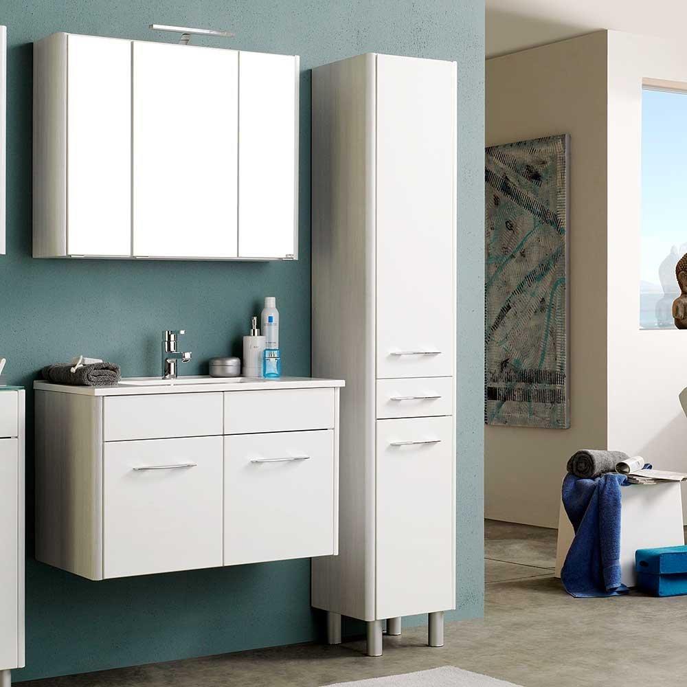 Hochglanz Badmöbel in Weiß mit Spiegelschrank und Waschtisch ...