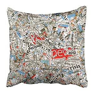 Emvency Throw Pillow Covers Print White Newspaper Organic Words Cuttings Clippings Letters Mixing Combined From Daily Articles Black 20 X 20 Inch Square Zipper Polyester Home Sofa Decorative Case