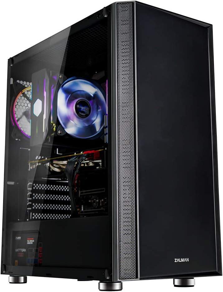 جراب كمبيوتر من Zalman R2 ATX Mid Tower بتصميم لوحة أمامية حديثة، زجاج صلب، مروحة RGB 1 × 120 مم، USB 3.0 و2.0، زر تحكم LED، مرشح غبار علوي وسفلي (أسود)