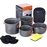 Camping Pot Sets 4 in 1 Portable Cookware Durable Light Weight Picnic Pot and Pan for 2-3 Persons