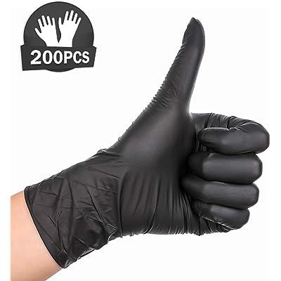 200pcs Nitrilo Guantes Desechables Polvo Guantes Libres De Látex, Dispensador Pack Cocina Universal/Lavavajillas/Trabajo/Goma/Guantes de Jardín (L, Negro)