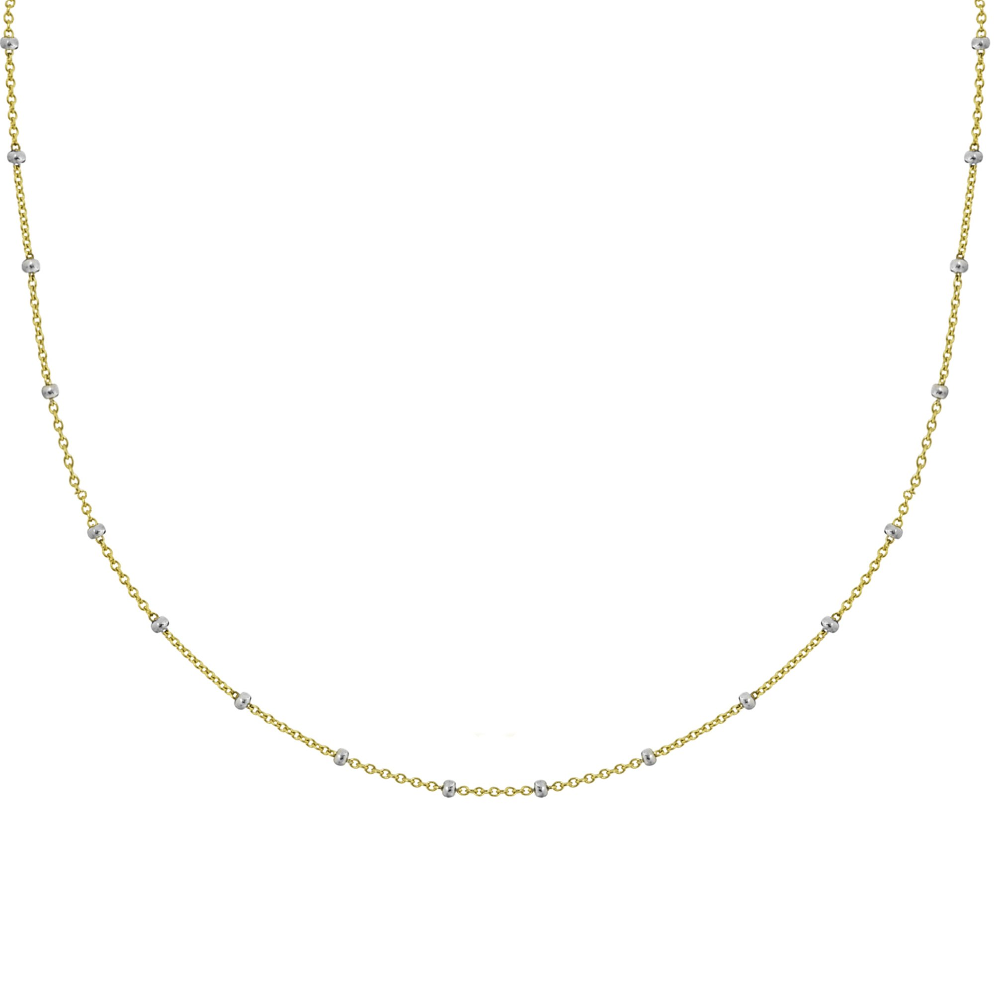 Ritastephens 14k Yellow White Gold Two Tone Saturn Beaded Station Chain Necklace 18 Inches by Ritastephens