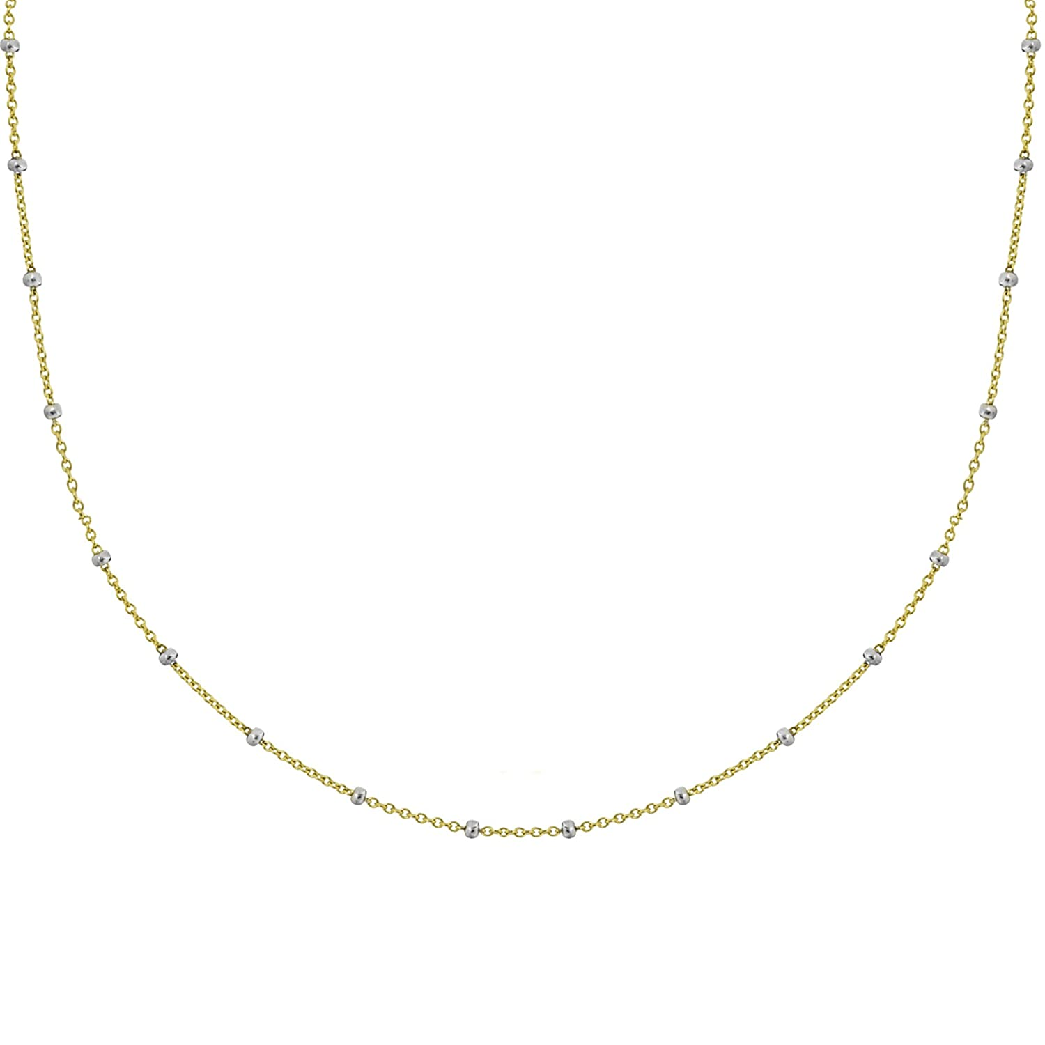 Ritastephens 14k Yellow White Gold Two Tone Saturn Beaded Station Adjustable Choker or Chain Necklace