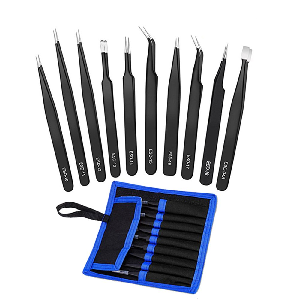 Decha 10pcs ESD Anti-Static Stainless Steel Tweezers Set Kit with Storage Bag for Electronics Repair, Soldering, Crafting
