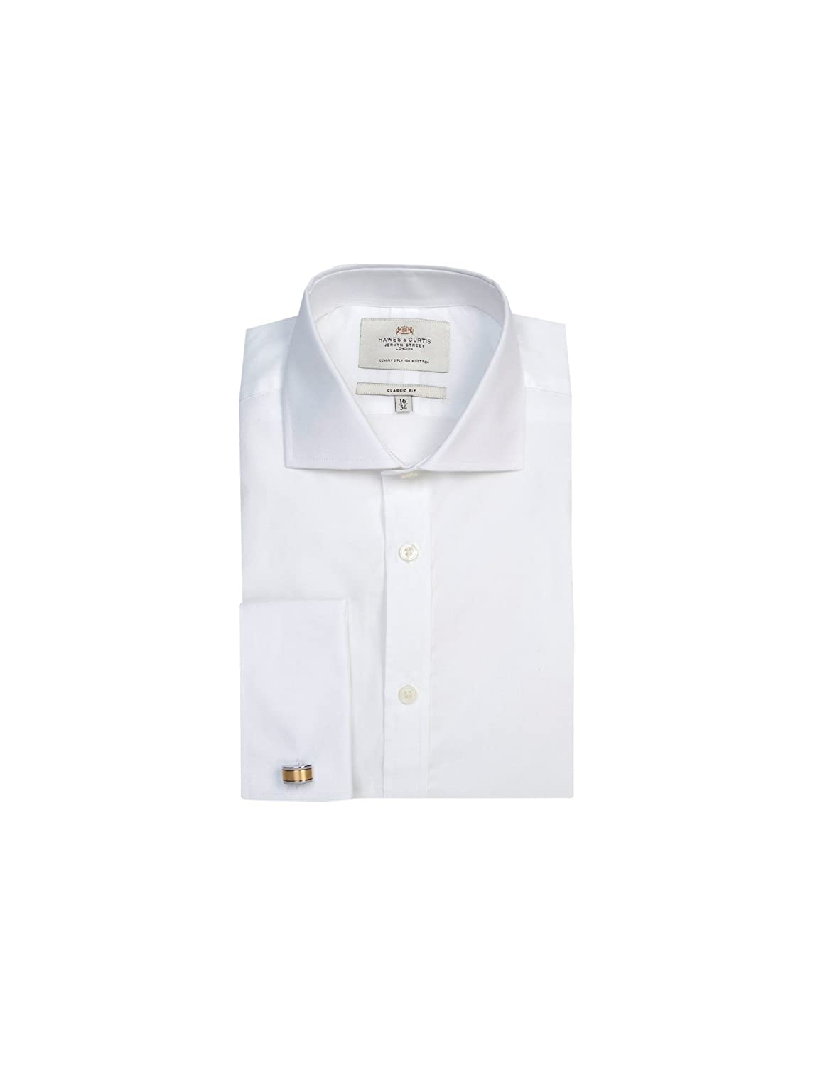 87f60d80140 HAWES   CURTIS Mens Formal Poplin Classic Fit Windsor Collar Double Cuff  Easy Iron Shirt  Amazon.co.uk  Clothing