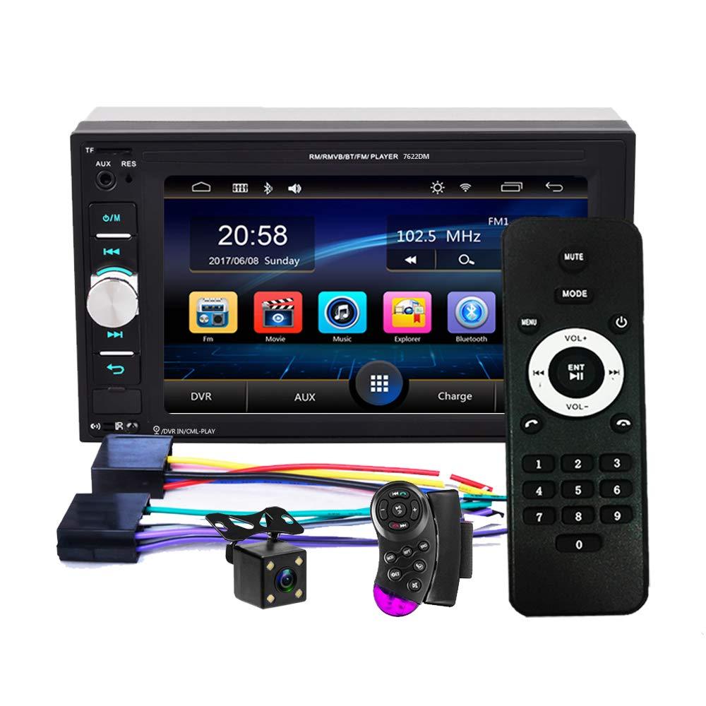 2 DIN, 6,2 Pulgadas, Bluetooth, con c/ámara de visi/ón Trasera, Control de Volante, Compatible con Tarjeta TF//FM//Espejo Link//USB Radio est/éreo para Coche con Altavoz y Bluetooth podofo