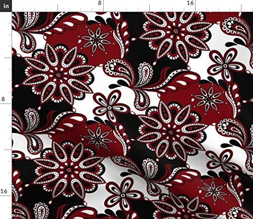 (Spoonflower Carolina Fabric - Garnet and Black University of Sc Paisley Mandala South Carolina Gamecocks Mandala by Rick Rack Scissors Studio Printed on Petal Signature Cotton Fabric by The Yard)