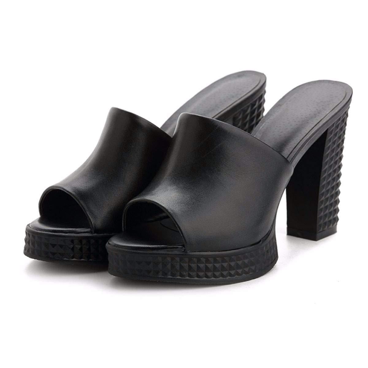 KPHY Damenschuhe/Leder Rau und Pantoffeln Sommer Mode Tragen 11Cm High Heels Damenmode Drag Passende Schuhe.38 Schwarz