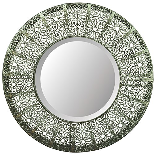 Lulu Decor, Lacy Round Silver Metal Beveled Wall Mirror 19
