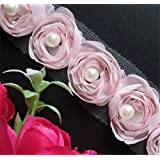 2 Meters Rose Flower Pearl Chiffon Lace Edge Trim Ribbon 5 cm Width Vintage Style Pink Edging Trimmings Fabric Embroidered Applique Sewing Craft Wedding Bridal Dress Embellishment DIY Clothes Decor