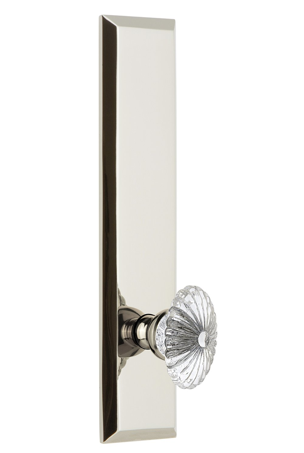 Single Grandeur 803040 Hardware Fifth Avenue Tall Plate Dummy with Burgundy Knob in Polished Nickel